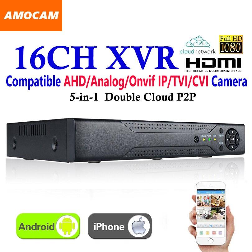 New CCTV 16Channel XVR Video Recorder All HD 1080P 5-in-1 16 CH Super DVR Recording support AHD/Analog/Onvif IP/TVI/CVI Camera