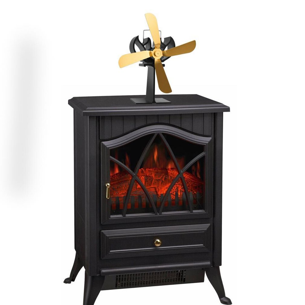 1pc Super Quiet 4 Blades Heat Power Wood Stove Eco-friendly
