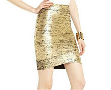 Elegant Slim fitting gold foil 2016 new design skirt bandage skirt latest skirt design pictures DM592