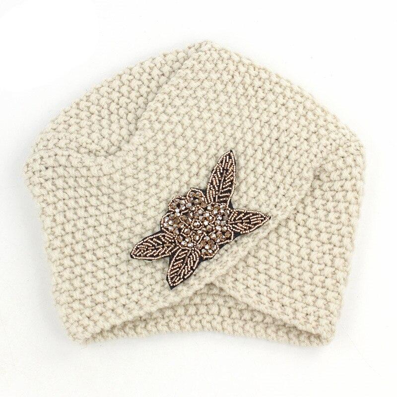 Image 4 - Muslim Winter Turban Hat Warm Print Rhinestone Knit Cap Beanie  Sleep Chemo Turban Headwear Cancer Patients Hair AccessoriesWomens  Hair Accessories