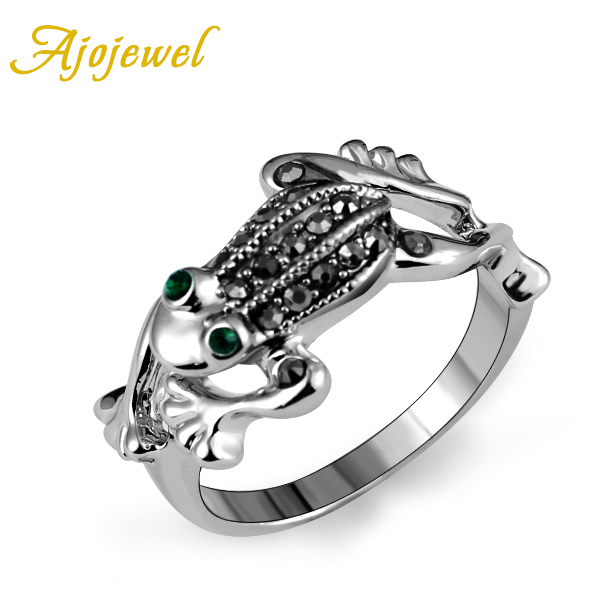 Ajojewel Brand Green Crystal Black Rhinestones Jumping Frog Rings Jewelry Fashion Animal Ring Size 7 8 9 in Rings from Jewelry Accessories