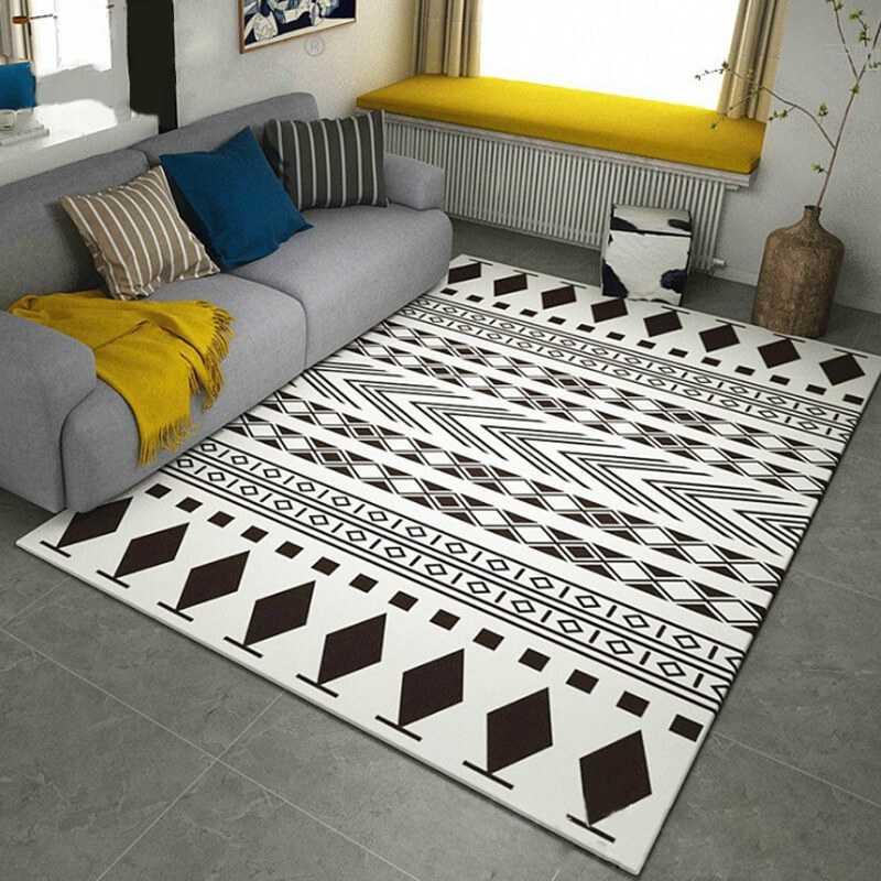 Prostota w stylu nordyckim dywany geometryczne do salonu dywaniki do sypialni szara biała sofa stół i krzesła antypoślizgowe maty podłogowe