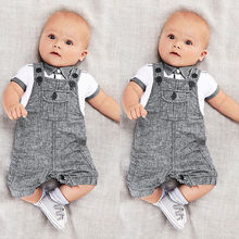 2PCS Kids Boys Clothes T-shirt Tops  and  Jumpsuits Pants Bib Outfits Playsuits Grey 6-9months