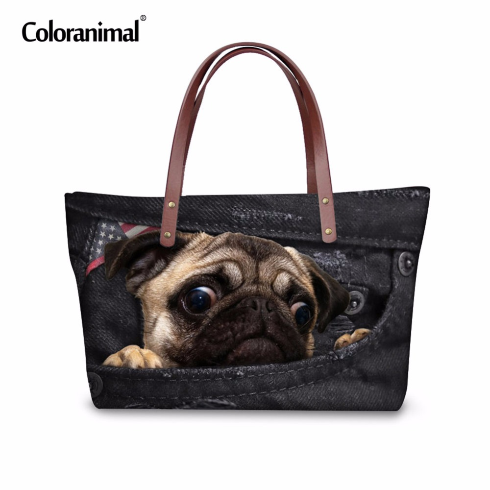 Coloranimal Luxury Women Bag 3D Black Denim Printed Woman Large Handbags Cute Animal Cat Dog Pug Tote Shoulder Bags for Ladies instantarts famous brand women s large handbags cute animal cat dog shoulder bag ladies big tote bag designer women top hand bag