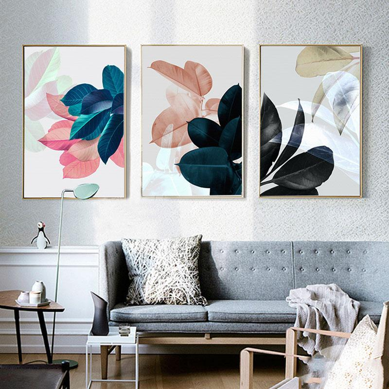 Wall Pictures For Living Room Leaf Cuadros Picture Nordic Poster