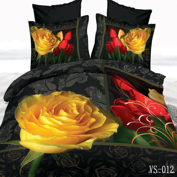 3D Red/Yellow Rose Pattern Bedding Sets 3 Piece(1pc Duvet Cover+2pc Pillowcase) for Friend Wedding,Birthday Gift