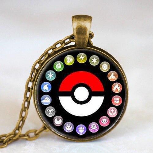 Pokemon Pokeball Photo game gamer antique brass Pendant charm Steampunk Necklace doctor who 1pcs/lot women mens vintage chain