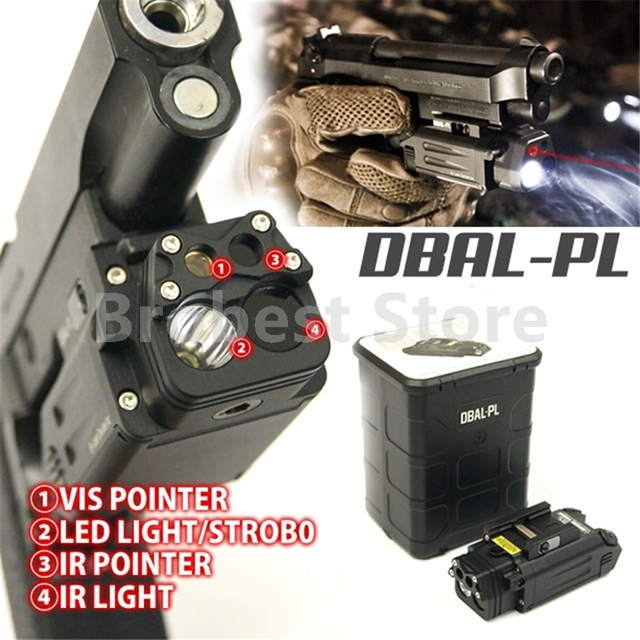 DBAL-PL Tactical IR Laser Light Combo Strobe Weapon Light LED Gun Tac Flashlight With Red Laser NV Illuminator