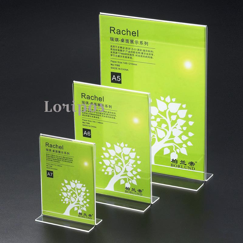 Clear Acrylic Table Menu Card Stand Desk Sign Holder Price Tag Display Plexiglass Photo Frames Advertising Poster Frame Rack acrylic trapezoidal block photo frame price tag sign label paper list clip magnetic name card display rack table desktop stand