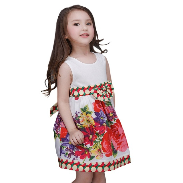 9670c8725 Summer Girls Dress For Teenagers flower Children Party Frock Baby ...