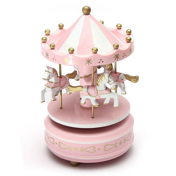 Musical carousel horse wooden carousel music box toy child baby pink game ...