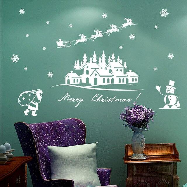 Nieuwe muurstickers Kerst sneeuwpop raamstickers Glas deuren en ...