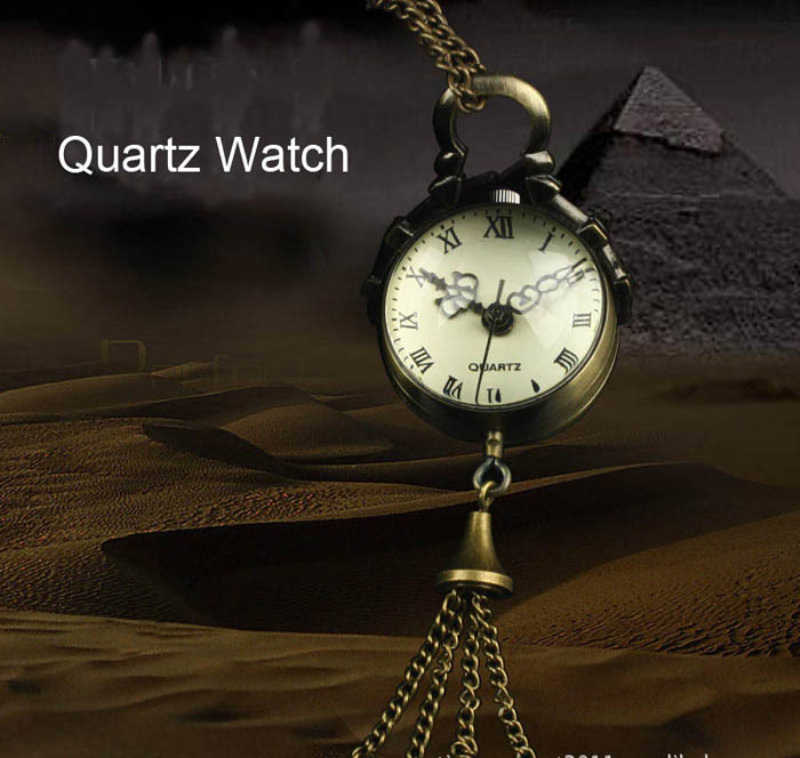 Винтажные бронзовые кварцевый шар стеклянные карманные часы ожерелье цепочка Наручные часы в стиле стимпанк relogio masculino feminino часы reloj mujer подарок