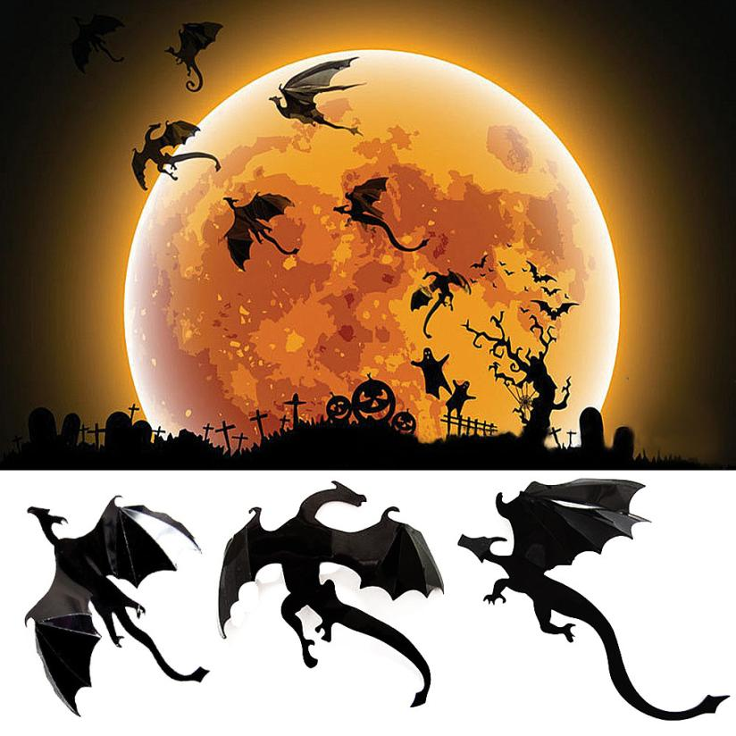 7Pcs / Lot Halloween Gothic Wallpaper Stickers Game Power Limited 3D Dragon Decoration Wall Decals Home Decor Hallowe'en #70