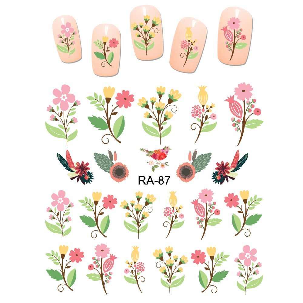 UPRETTEGO, pegatina de agua para arte en uñas, bonita pegatina de dibujos animados adhesivos deslizables, ramo de flores, ramo de rosas de amor, RA85-90