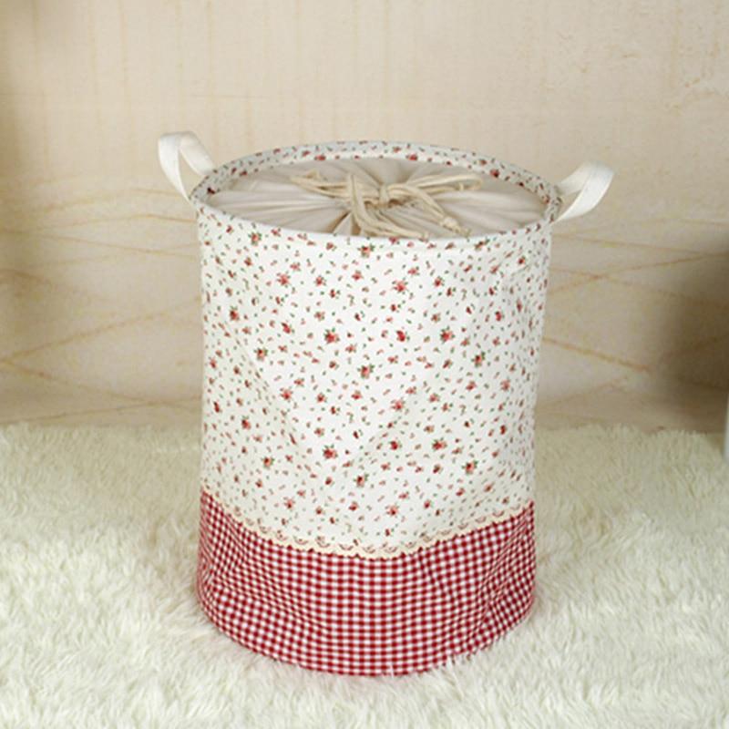 Home Foldable Cotton Laundry Storage Basket Clothes Kids Toy Bag Box MYDING