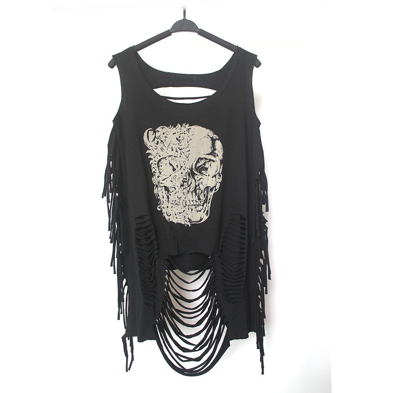 Beskåret Top Beskåret Sexy Tank Mode Casual Punk Rock Pok Streetwear Hollow Out Tanks Bustier Harajuku Dametøj Tøj