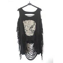 2015 Charming New Women T shirts Skull Punk  Pop Sexy Top Long Tee T-Shirt women skull printing vest