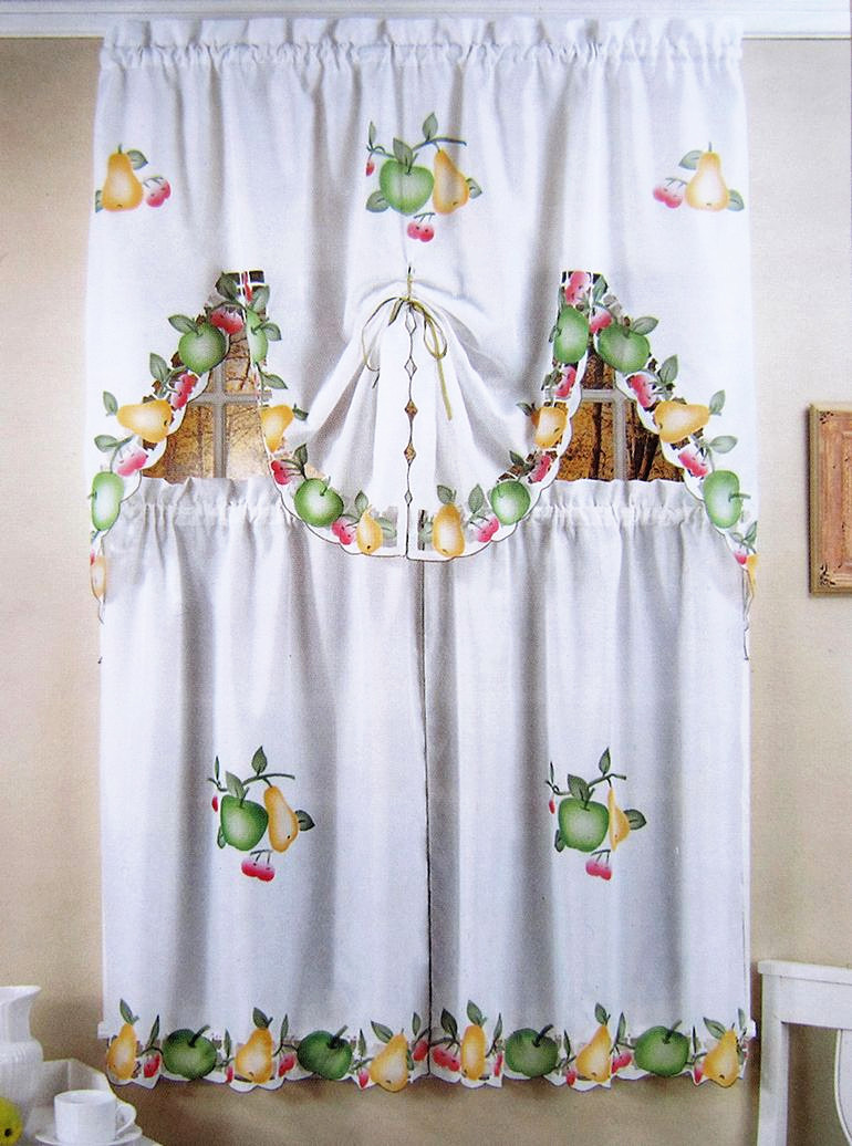 New cafe short kitchen curtains fruits design embroidery lace ...