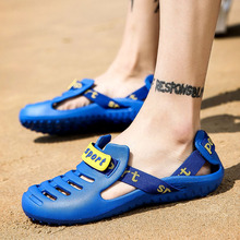 Men Shoes Sandals Plastic Beach Shoes For Men Summer Mens Outdoor Walking Sneakers Slip-On Blue Beach Sport Sandals Shoes crocodile summer women height beach sneakers outdoor soft walking shoes women leisure sandals femme light cushion sport shoes