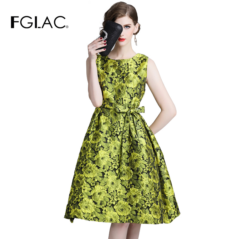 FGLAC Women dress New Fashion dresses Sleeveless Summer Dress women Elegant Slim O-Neck Jacquard Cocktail party dress Vestidos