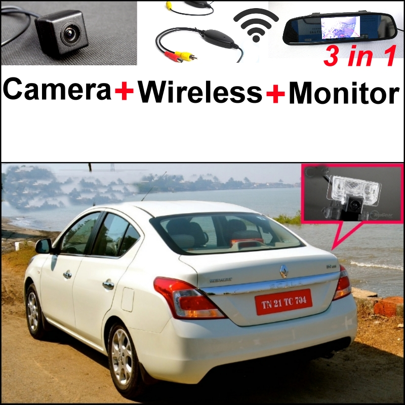 3 in1 Special Camera + Wireless Receiver + Mirror Monitor Easy DIY Back Up Parking System For Renault Scala Sedan 2011~2015 wireless pager system 433 92mhz wireless restaurant table buzzer with monitor and watch receiver 3 display 42 call button