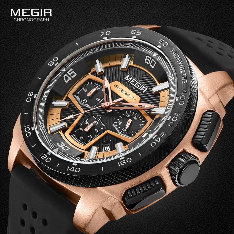 Megir Mannetjes Mens Chronograph Sport Horloges Met Quartz Uurwerk Rubberen Band Lichtgevende Horloge Voor Man Jongens 2056G-1N0 4