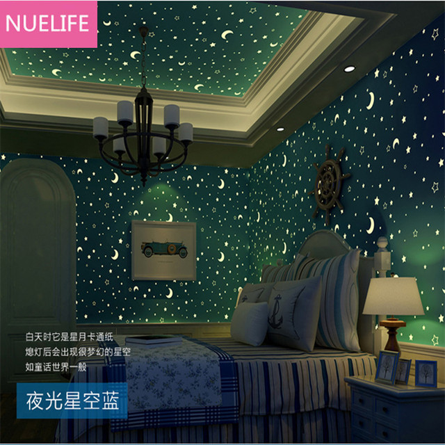0 53x10m Non Woven Luminous Wallpaper Children S Roof Bedroom Living Room