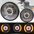 "Yellow 7"" HID Headlight W/ Turn Signal White Angel Eyes Red Demon Eyes Fits For CG125 GN125 CG200 CB400 Cafe Racer Bobber Custom"