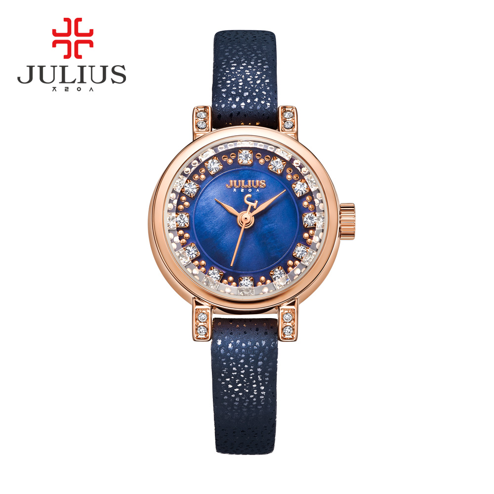 Lady Women's Watch Julius Japan Quartz Hours Clock Fashion Leather Bracelet Shell Rhinestone Birthday Girl Christmas Gift