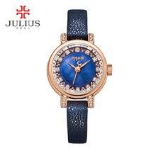 Леди женские Часы Юлий Япония Кварцевых Часов Мода Кожаный Браслет Оболочки Горный Хрусталь Именинница Рождественский Подарок 884