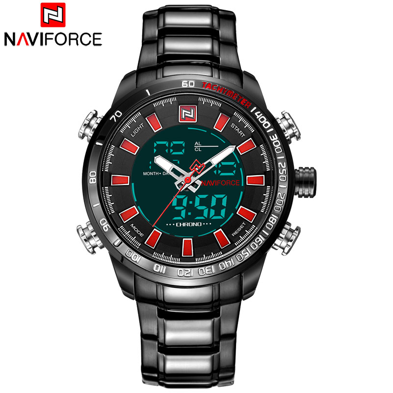 NAVIFORCE Brand Mens Quartz Watches Sport Watch Men Stainless Steel Band 30M Waterproof Analog LED Digital Display Wristwatches the jayhawks the jayhawks mockingbird time cd dvd
