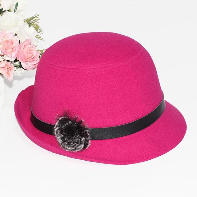 Winter Women Stylish Rabbit Fur Hairball Felt Hat Bowler Cloche Christmas Gift Keep Warm Fashion Youth Wool Hat Handmade Flower