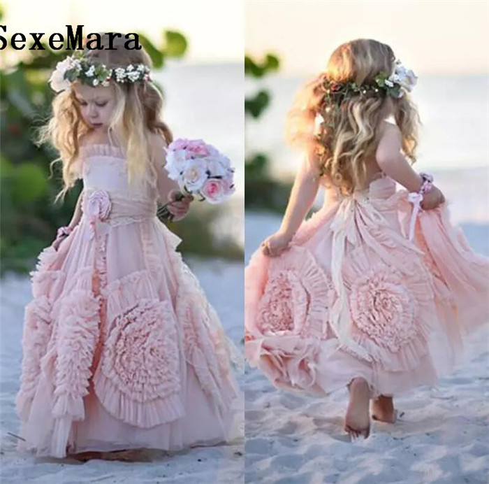 Pink Flower Girl Dresses Spaghetti Ruffles Hand Made