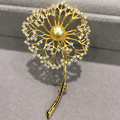 natural sea water pearl brooch gold color dandelion brooch pins  fashion women jewelry 9MM  perfect round