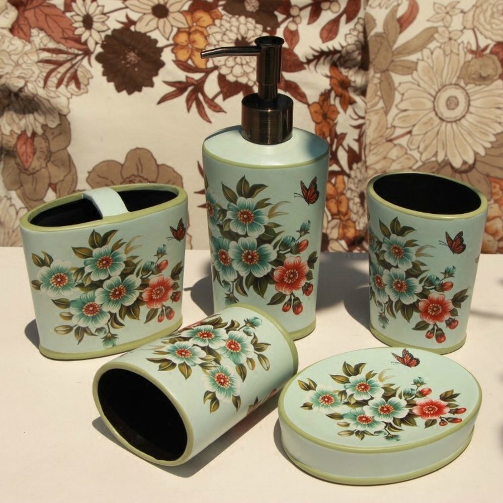 American country ceramic painted bathroom five-piece European creative mouth Cup bathroom accessories home decoration LO87145American country ceramic painted bathroom five-piece European creative mouth Cup bathroom accessories home decoration LO87145