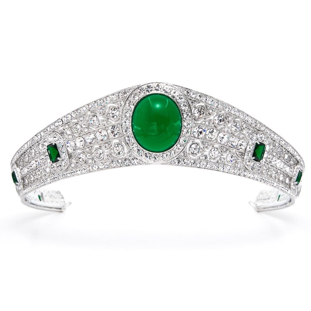Real Austrian Rhinestone CZ Princess Eugenie Wedding Bridal Tiara Crown For Women Accessories Jewelry HG086