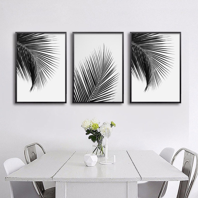Black White Palm Tree Leaves Canvas Posters And Prints Minimalist