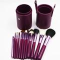 12 unids Profesional cepillos Portables del maquillaje cepillos Cosmético del Sistema de Cepillos Herramientas de Maquillaje Kit con la Copa titular Caso 5 colores