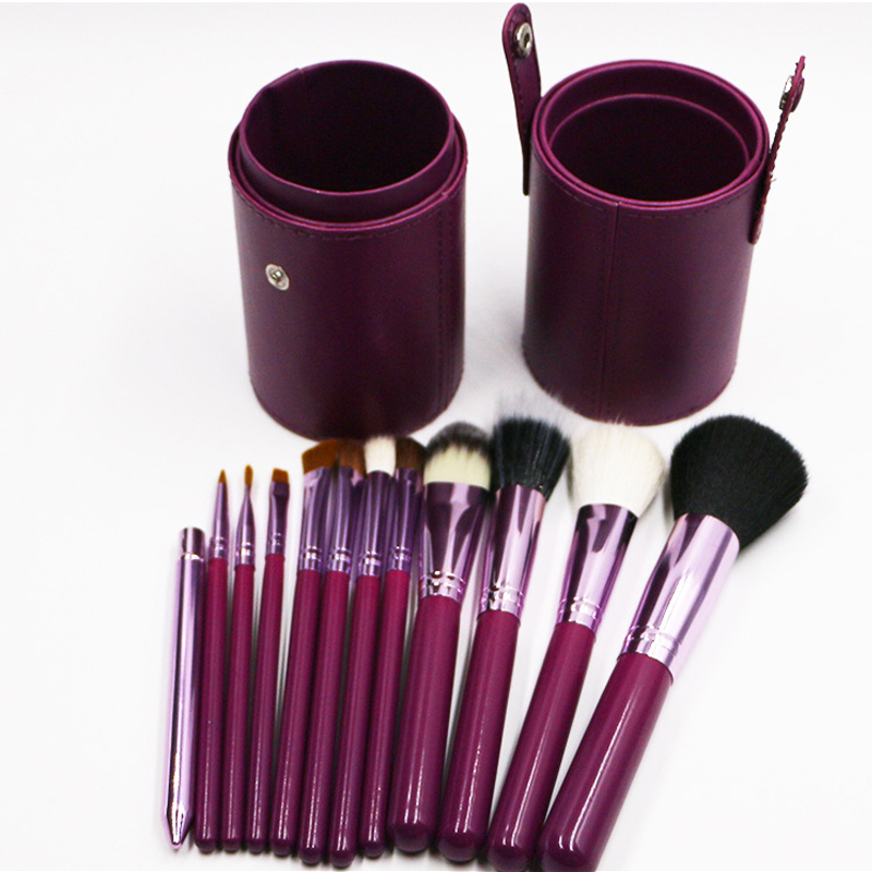 12pcs Professional Portable makeup brushes make up brushes Set Cosmetic Brushes Kit Makeup Tools with Cup holder Case 5 colors dental kerr finishing polishing assorted kit occlubrush cup brushes 1set
