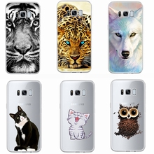 Soft Clear TPU Case For Samsung Galaxy Note 8 S8 S9 A6 A8 Plus J6 2018 J3 J5 J7 2016 2017 Cat Owl Wolf Pattern Silicone Cover