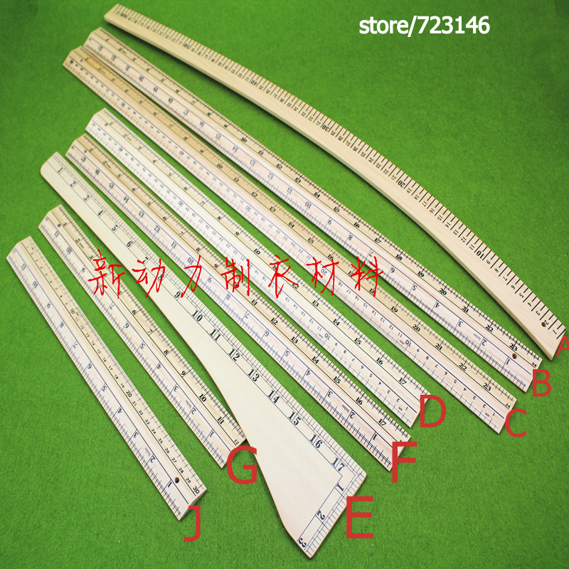 poplar WOOD 12 24 18 INCH & MM CM Sided Tailor Tools, Sewing Machine Accessories, Fabric Sewing Patchwork Ruler DIY Manual image