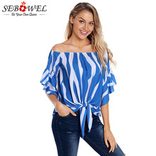 SEBOWEL Summer Stripe Ruffles Blouse Woman Off The Shoulder Half Sleeve Slash Neck Lace Up Plus Size Tops Shirts Female Blouses new dew shoulder design clothes the horn sleeve beautiful stripe girls blouses