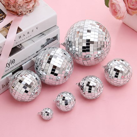 Amawill 3CM 5CM 8CM Reflective Glass Rotating Mirror Ball For Disco DJ Mirror Reflection Glass Ball Light For Christmas Party 8D