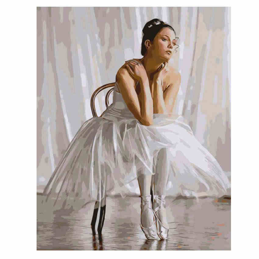 WEEN Ballet DIY Paint By Numbers Kit,Dance Acrylic Paint Modern Wall Art Home Decor Hand Painted Oil Painting Picture Canvas