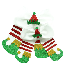 10pcs new 7 inch Christmas Cheer Bows multicolor Elastic Hair Bands For Kids Girls Accessories