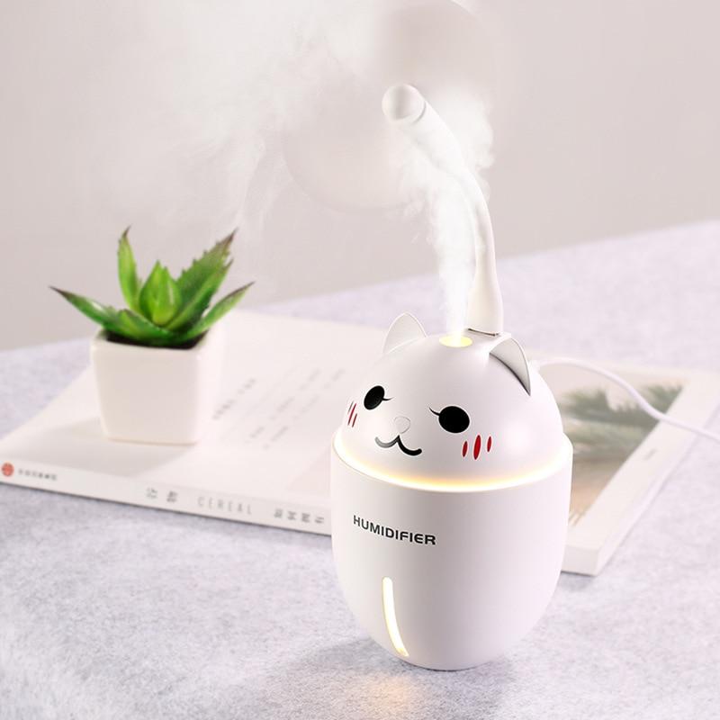 цена Mini humidifier vibrato USB sprouting cat humidifier three in one home fragrance burner humidifier