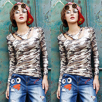 New Fashion Womens Lady Long Sleeve Blouse Casual Camouflage Shirt Tops Blouse