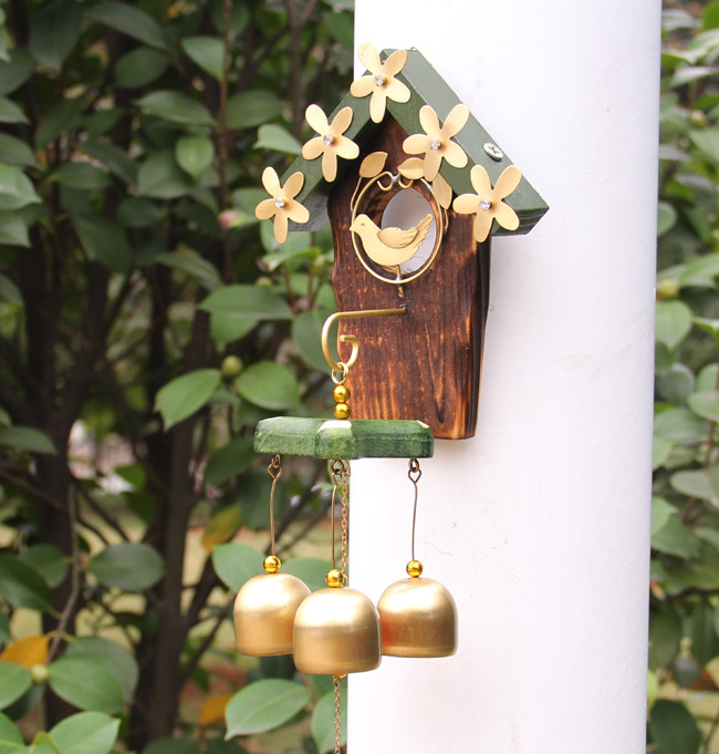 Brass bell metal ornaments hanging bell chimes pastoral nest door decoration creative girls holiday gift