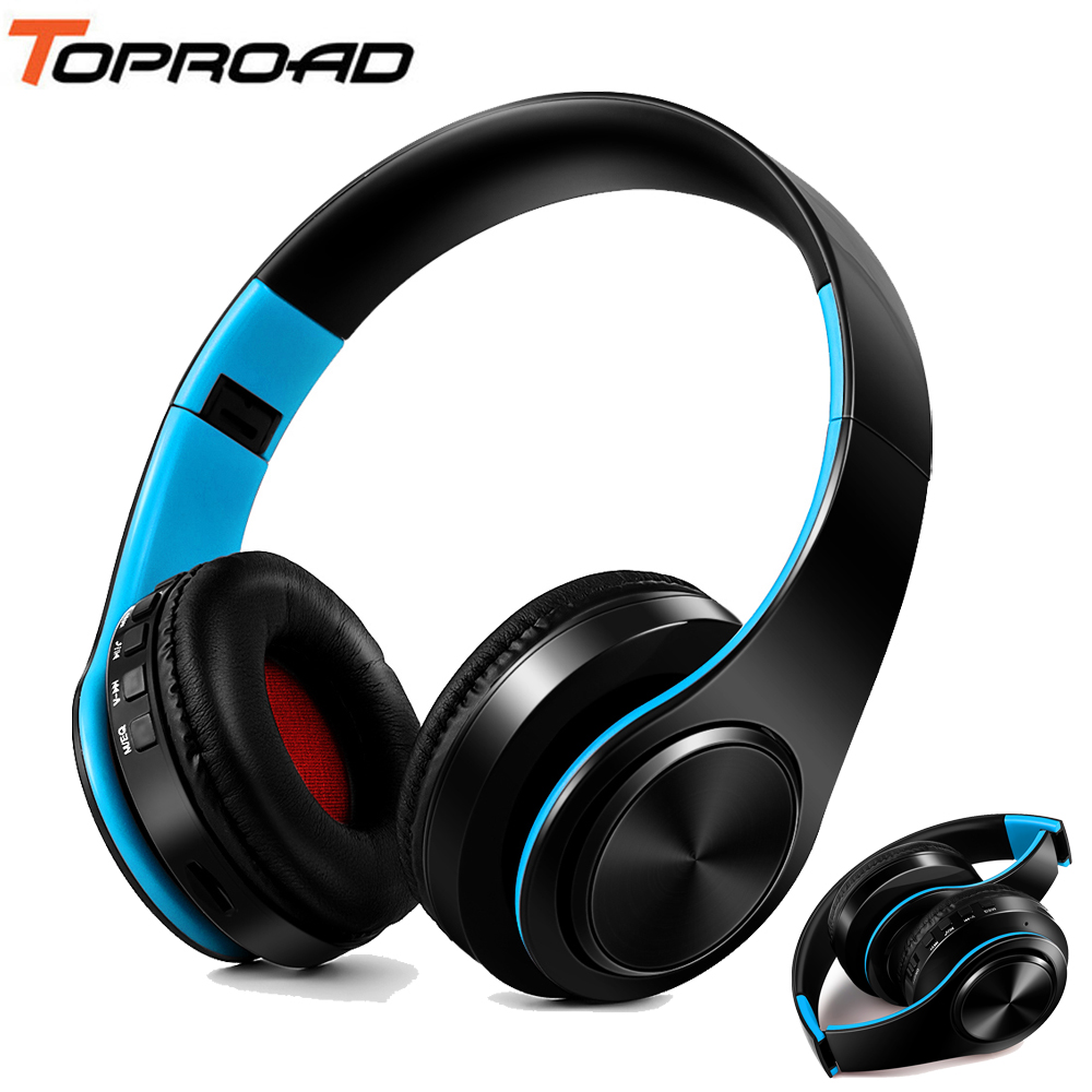 TOPROAD Headphones Bluetooth Headset Earphone Wireless Headphone Stereo Foldable Sport Earphone Microphone Hands Free MP3 Player